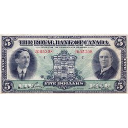 THE ROYAL BANK OF CANADA. $5.00. Jan. 2, 1927. No. 2005308/C. CH-630-14-04. Wilson, left. PMG graded