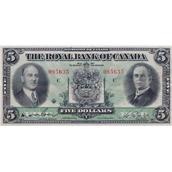 THE ROYAL BANK OF CANADA. $5.00. July 3, 1933. No. 085635/C. CH-630-16-02. PMG graded Extra Fine-40.