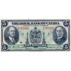 THE ROYAL BANK OF CANADA. $5.00. Jan. 2, 1935. No. 1787495/A. CH-630-18-02a. Signed Dobson-Wilson. L