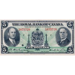 THE ROYAL BANK OF CANADA. $5.00. Jan. 2, 1935. No. 1875720/C. CH-630-18-02a. Signed Dobson-Wilson. L