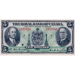 THE ROYAL BANK OF CANADA. $5.00. Jan. 2, 1935. No. 1877106/A. CH-630-18-02a. Signed Dobson-Wilson. L