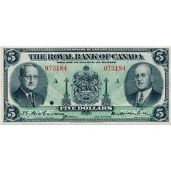 THE ROYAL BANK OF CANADA. $5.00. Jan. 2, 1943. CH-630-20-02. No. 073184/A. Signed Dobson-Wilson. BCS