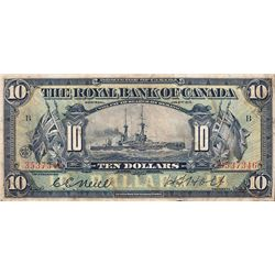 THE ROYAL BANK OF CANADA. $10.00. Jan. 2, 1913. CH-630-12-08. No. 3537346/B. Neil, left. PMG graded
