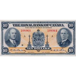 THE ROYAL BANK OF CANADA. $10.00. Jan. 2, 1935. CH-630-18-04. No. 108964/A. Signed Dobson-Wilson. Sm