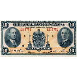 THE ROYAL BANK OF CANADA. $10.00. Jan. 2, 1935. CH-630-18-04a. No. 1237752/C. Signed Dobson-Wilson.