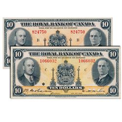 THE ROYAL BANK OF CANADA. $10.00. Jan. 2, 1935. CH-630-18-04a. No. 824750/B. Signed Dobson-Wilson. L