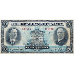 THE ROYAL BANK OF CANADA. $20.00. Jan. 2, 1927. CH-630-14-12. No. 436516/A. Wilson, left. PMG graded