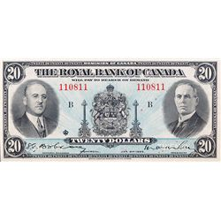 THE ROYAL BANK OF CANADA. $20.00. Jan. 2, 1935. CH-630-18-06a. No. 110811/B. PCGS graded AU-58.