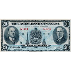THE ROYAL BANK OF CANADA. $20.00. Jan. 2, 1935. CH-630-18-06a. No. 58404/B. Signed Dobson/Wilson. La