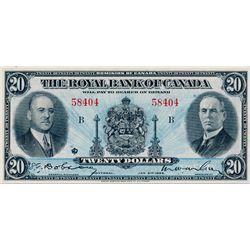 THE ROYAL BANK OF CANADA. $20.00. Jan. 2, 1935. CH-630-18-06a. No. 58404/B. Signed Dobson/Wilson. La
