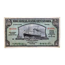 THE ROYAL BANK OF CANADA. At Port of Spain, Trinidad. $5.00. Jan. 2, 1938. CH-630-68-02. No. 061098.