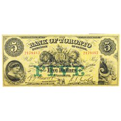 THE BANK OF TORONTO. $5.00. Oct. 1, 1929. CH-715-22- 22. No. 2179487/B. PMG graded Very Fine-25.