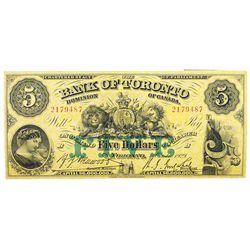 THE BANK OF TORONTO. $5.00. Oct. 1, 1929. CH-715-22- 22. No. 2179487/B. PMG graded Very Fine-25.