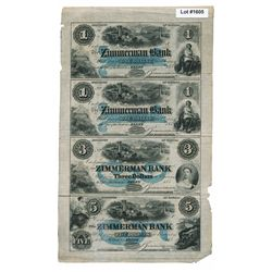 THE ZIMMERMAN BANK. $1.00, $1.00, $3.00, $5.00. 1855-(1854-59). CH-815-12-08-02R, 02R, 04R, 06R. An