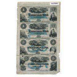 THE ZIMMERMAN BANK. $1.00, $1.00, $3.00, $5.00. 1855-(1854-59). CH-815-12-08-02R, 02R, 04R, 06R. An