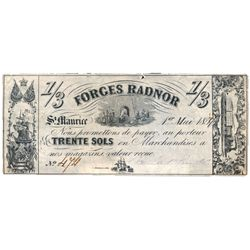 FORGES RADNER, St. Maurice, C.E. 1 Shilling 3 Pence, (30 sols). 1 May, 1859. CH-QC170-10-04R. A Rema