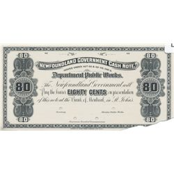 """NEWFOUNDLAND GOVERNMENT CASH NOTE. 80 Cents. NF-8P. 1901-09. A Face Proof on thin paper. A 2"""" by 1/2"""