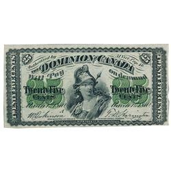 DOMINION OF CANADA. 25 CENTS. March 1, 1870. DC-1a. Letter 'A' under date. PMG graded Very Fine-35.