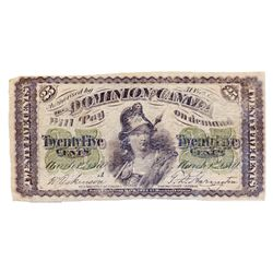 DOMINION OF CANADA. 25 CENTS. March 1, 1870. DC-1a. Letter 'A' under date. CCCS graded FINE-12.