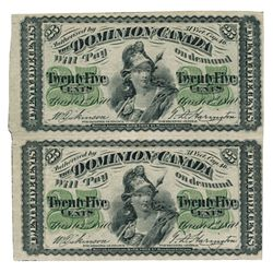 DOMINION OF CANADA. 25 CENTS. March 1, 1870. DC-1c. Plain variety. An uncut pair of two (2) notes. V