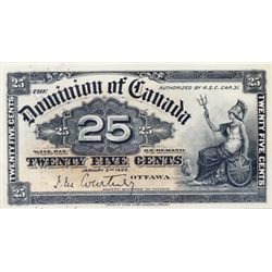 DOMINION OF CANADA. 25 CENTS. Jan. 2, 1900. DC-15a. Courtney. A bright and Crisp CU. Ex. MOORE'S Sep