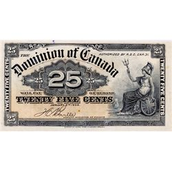 DOMINION OF CANADA. 25 CENTS. Jan. 2, 1900. DC-15b. BOVILLE. BCS graded Very Fine-25, (minor stain.
