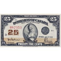 DOMINION OF CANADA. 25 CENTS. July 2, 1923. DC-24a. Hyndman-Saunders. No 'Authorized, etc.'. No. D08