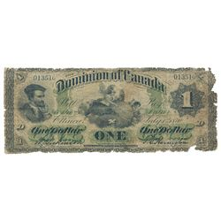 DOMINION OF CANADA. $1.00. July 1, 1870. DC-2a-i. Payable at Montreal. No. 013510/D. PMG graded GOOD