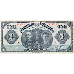DOMINION OF CANADA. $1.00. Jan. 3, 1911. DC-18c. No. 810913J/A. Green Line. PMG graded Very Fine-20.