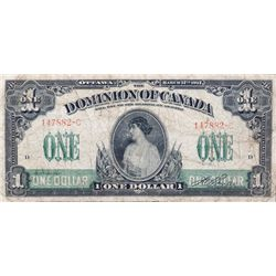 DOMINION OF CANADA. $1.00. March 17, 1917. DC-23a. No. 147882-C/D. No Seal. Boville. PMG graded Fine