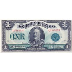DOMINION OF CANADA. $1.00. July 2, 1923. DC-25j. No. C2585055/D. Green Seal. An original Unc.
