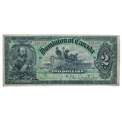 DOMINION OF CANADA. $2.00. July 2, 1897. DC-14b. No. 126444/D. Courtney. Red-Brown back. PMG graded