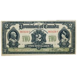 DOMINION OF CANADA. $2.00. Jan. 2, 1914. DC-22a-i. No. 365424-F/A. No Seal. Boville. PMG graded Very