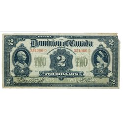 DOMINION OF CANADA. $2.00. Jan. 2, 1914. DC-22a-i. No. 554066-D/D. No Seal. Boville. PMG graded Fine