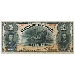 DOMINION OF CANADA. $1.00. March 31, 1898. DC-13c. No. 878371/A. Series 'L'. T.C. Boville, right. An