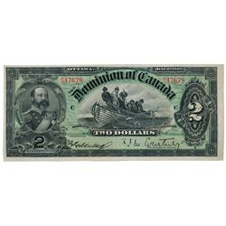 DOMINION OF CANADA. $2.00. July 2, 1897. DC-14b. No. 547678/C. Plain series. Signed J.M. Courtney, r