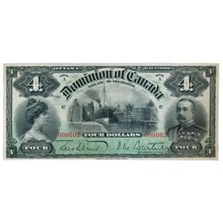 DOMINION OF CANADA. $4.00. July 2, 1900. DC-16. No. 000002/C. Vignette of the Sault Ste. Marie/U.S.