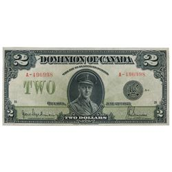 DOMINION OF CANADA. $2.00. June 23, 1923. DC-26a. No. A-496998/B. Signed Hyndman-Saunders. Black Sea
