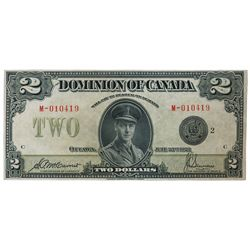 DOMINION OF CANADA. $2.00. June 23, 1923. DC-26f. No. M-010419/C. Signed McCavour-Saunders. Black Se