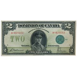 DOMINION OF CANADA. $2.00. June 23, 1923. DC-26d. No. H-023413/A. Signed McCavour-Saunders. Green Se