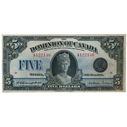 DOMINION OF CANADA. $5.00. May 26, 1924. DC-27. No. A122146/D. Signed Campbell-Sellar. Unlisted in t