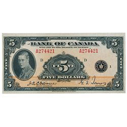 BANK OF CANADA. $5.00. 1935 Issue. English Text. BC-5. No. A274421/D. Unc.