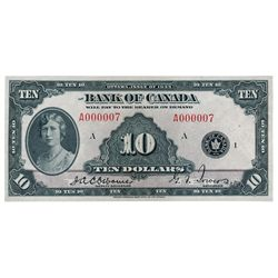BANK OF CANADA. $10.00. 1935 Issue. English Text. BC-7. No. A000007/A. Listed in the C.P.M.S. Regist