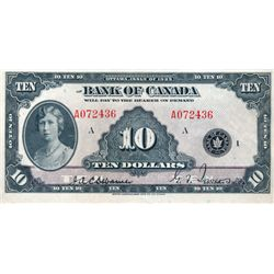 BANK OF CANADA. $10.00. 1935 Issue. English Text. BC-7. No. A072436/A. Large lower margin. Choice Ex