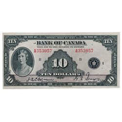 BANK OF CANADA. $10.00. 1935 Issue. English Text. BC-7. No. A353057/B. Hint of a minor center crease