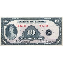 BANK OF CANADA. $10.00. 1935 Issue. French Text. BC-8. No. F037190/B. Minor center fold. Bright Extr