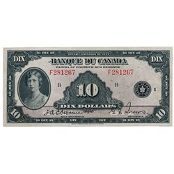 BANK OF CANADA. $10.00. 1935 Issue. French Text. BC-8. No. F281267/B. A well centered Unc.