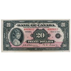 BANK OF CANADA. $20.00. 1935 Issue. English Text. BC-9b. Small Seal variety. No. A069612/C. A well c