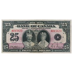 BANK OF CANADA. $25.00. 1935 Issue. English Text. BC-11. No. A015823/B. A bright Extra Fine.