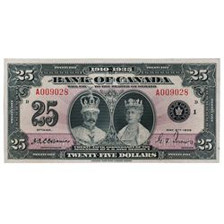 BANK OF CANADA. $25.00. 1935 Issue. English Text. BC-11. No. A009028/B. A choice AU note. Only a min